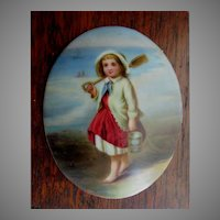 Antique Miniature Porcelain Plaque, Little Girl with Sand Pail