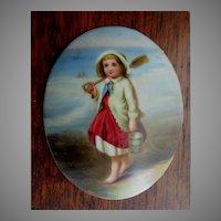 Antique Miniature Porcelain Plaque, Little Girl with Sand Pail