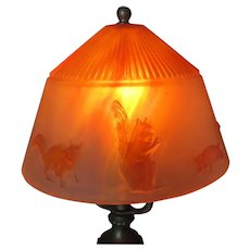 Antique Lamp with Glass Squirrel, Chipmunk Lamp Shade