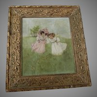 Charming Antique c1880s Oil Painting of Girls in Flower Field