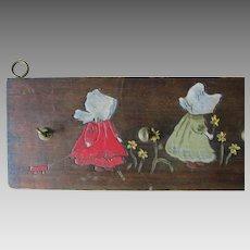 c1910s Flemish Art Hooks with Sunbonnet Children, Pyrography Hooks