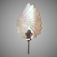 Victorian c1890s Carved, Mother of Pearl, Native American Indian Chief Spoon