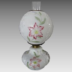 Lovely Antique Oil Lamp with Floral Motif, All Original
