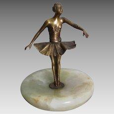 c1920s Art Deco Semi Nude Ballerina, Dancer Desk or Vanity Tray, Cigar Tray
