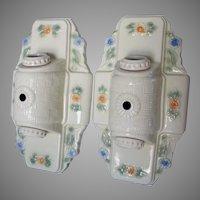 Pair Art Deco Porcelain Light Fixtures, Lighting, Home Decor