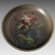Antique English Victorian Hand Painted Paper Mache Calling Card Tray: Calling Card Receiver