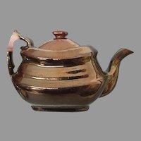 Rare Antique c1840s Copper Luster Miniature Child, Dolls Teapot