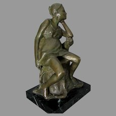 Fine Bronze Sculpture of a Lady Sitting in a Chair, Signed