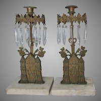 Antique c1880s Gothic Girandole Candlesticks with Cathedrals, Churches