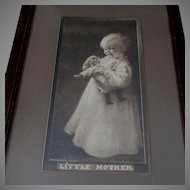 Antique c 1905 Girl with Doll Print, Little Mother, Arts & Crafts