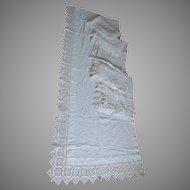 6 Elegant Antique Linen Curtains, Drapes with Hand Crochet Lace