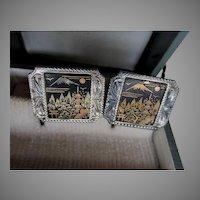 Vintage Asian 950 Sterling Silver Mixed Metal Asian Cufflinks, Original Box