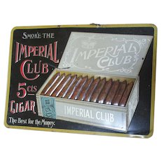 Reserved for. Chris....Antique Imperial Club Cigars Embossed Tin Advertising Sign