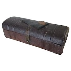 Antique c1870s Leather Sewing Box, Scissor Tool Case