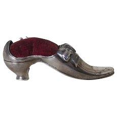 Antique Sterling Silver Shoe, Sewing Pincushion, English, Adie & Lovekin, Birmingham