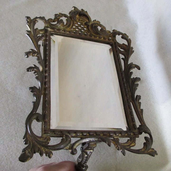 Pretty Antique Beveled Glass Mirror On Stand, Vanity, Shaving Mirror