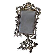 Pretty Antique Beveled Glass Mirror on Stand, Vanity, Shaving Mirror