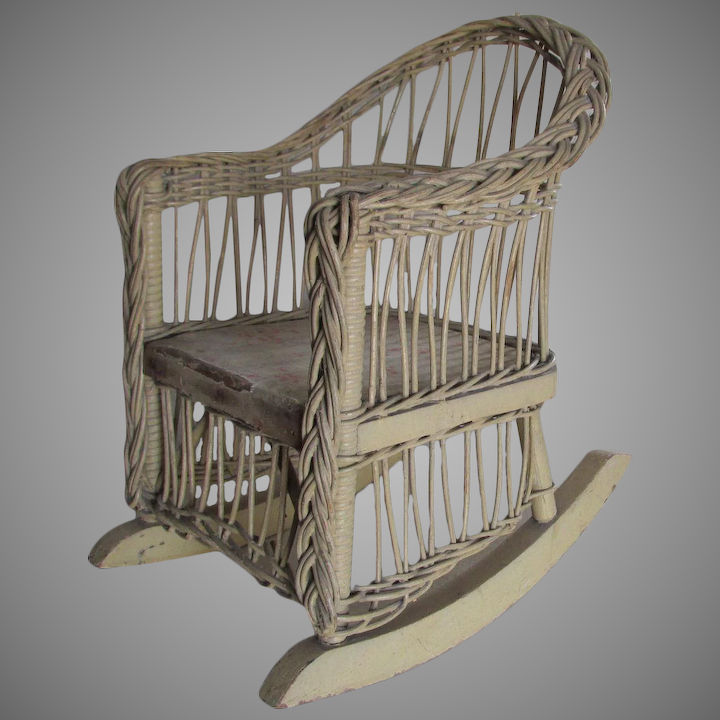 Superb Antique Wicker Rocking Chair For Doll Or Teddy Bear Theyellowbook Wood Chair Design Ideas Theyellowbookinfo