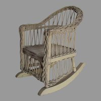 Antique Wicker Rocking Chair for Doll or Teddy Bear