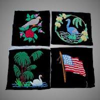 4 c1930s Folk Art Hooked Velvet Pillow, Tapestry, Quilt Squares