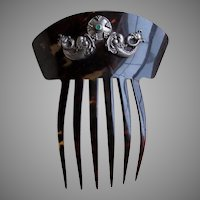 Antique Ladies Hair Comb with Silver Dolphins, Victorian, Art Nouveau