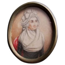 Antique c1800s Miniature Painting of a Lady with Shawl & Bonnet