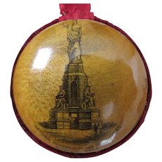 Antique Mauchline Ware Sewing Pincushion, Monument Plymouth MA