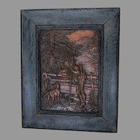 Antique German Repousse Copper Plaque, Gentleman Hunting, Lady, Dog