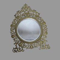 Antique Vanity Mirror, Picture Frame with Gargoyle Faces