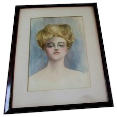 Antique Watercolor Painting of a Gibson Girl with Seductive Expression