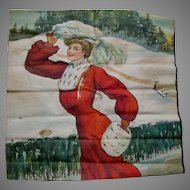 Antique c1905 Ulmann, Printed Linen of a Lovely Lady in Winter