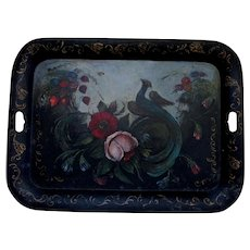 Lovely c1945 Hand Painted Tole Tray, Oil Painting of Bird and Flowers