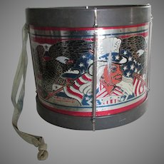 Vintage Tin Toy Drum with Uncle Sam, Flags, Patriotic Motif, Noble & Cooley