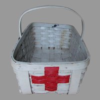 Vintage Hand Made Oak Splint Basket with Medical, Red Cross, Paint