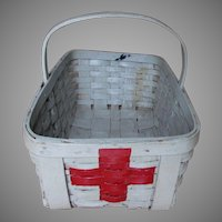 Vintage Hand Made Oak Splint Basket with Medical, Red Cross, Paint
