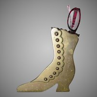Antique English Brass Shoe, Button Up Boot Vanity or  Desk Accessory