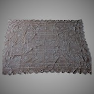 Antique Victorian, Edwardian, Hand Made Lace, European Tablecloth