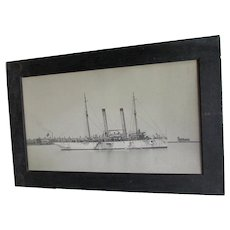Large Antique Photograph, Print of a United States Navy, Gunner Ship