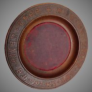 Antique Carved Oak Ecclesiastical Bowl, Thine Own We Have Given....