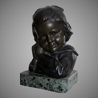Antique c1919 Bronze Sculpture of a Little Girl with a Bow