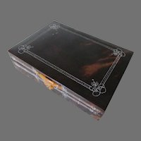 Antique Hand Made Miniature Sewing, Jewelry Box, Signed
