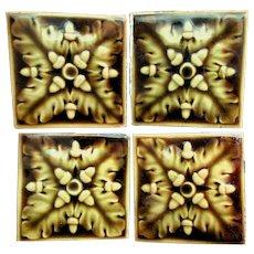 Antique Art Pottery Tiles with Acorn Motif, Trent Tiles