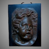 Antique 19thC  Bronze Cherub Face Plaque with Slate, Marble