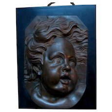 Antique 19thC  Bronze Cherub Face Plaque with Slate, Marble