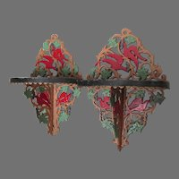 Pretty Pair of Antique Wall Shelves with Bird & Lattice Motif