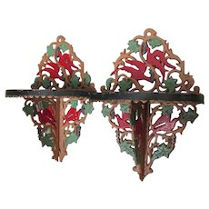 Pretty Pair of Antique Wall Shelves with Bird & Lattice Motif