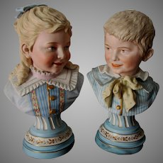Large Pair Antique Bisque Porcelain Busts of Children, European, Hand Painted