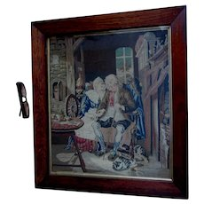 Charming Circa 1870s Petit Point Sampler, Tapestry of Couple in Love