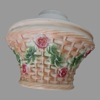 Antique Flower Basket, Rose Garland Glass Lamp Shade, Ceiling Light