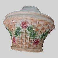 Antique Flower Basket, Rose Garland Glass Lamp Shade, Ceiling Light